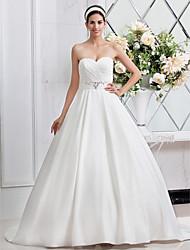 cheap -Princess A-Line Wedding Dresses Sweetheart Neckline Sweep / Brush Train Satin Sleeveless with Sash / Ribbon Ruched Beading 2020