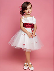 cheap -Princess / A-Line Knee Length First Communion / Wedding Party Satin / Tulle Sleeveless Straps with Sash / Ribbon / Draping / Flower / Spring / Summer / Fall / Winter