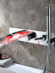 cheap -Bathtub Faucet-Waterfall Modern Chrome Bathtub and Shower Ceramic Valve Bathtub Shower Faucet / Single Lever Five Hole