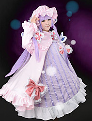 cheap -Inspired by TouHou Project Patchouli Knowledge Video Game Cosplay Costumes Cosplay Suits / Dresses Patchwork Long Sleeve Dress Bow Hat Costumes / Satin