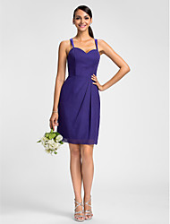 cheap -Sheath / Column Spaghetti Strap Knee Length Chiffon Bridesmaid Dress with Side Draping