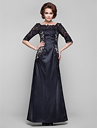 cheap -Sheath / Column Mother of the Bride Dress Open Back Bateau Neck Floor Length Lace Stretch Satin Half Sleeve with Lace 2021