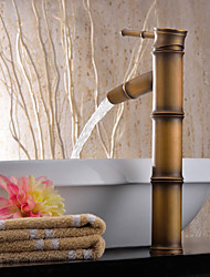 cheap -Antique Brass Bathroom Retro Sink Faucet  Single Handle One Hole Bath Taps with Hot and Cold Switch