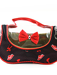 cheap -Portable PU Make up/Cosmetics Bag with Mirror Red&Black Transparent Bowknot Spot High-heeled