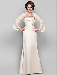 cheap -Sheath / Column Mother of the Bride Dress Wrap Included Strapless Floor Length Tulle Stretch Satin Long Sleeve with Sash / Ribbon Beading Appliques 2021