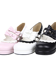 cheap -Women's Lolita Shoes Handmade High Heel Shoes Bowknot 4.5 cm Black White Pink PU Leather / Polyurethane Leather Halloween Costumes