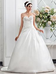 cheap -Princess A-Line Wedding Dresses Sweetheart Neckline Chapel Train Satin Sleeveless with 2020
