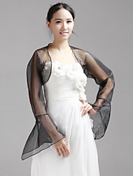 cheap -Long Sleeve Coats / Jackets Organza Wedding / Party Evening Wedding  Wraps With