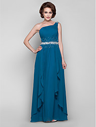 cheap -A-Line Mother of the Bride Dress Sparkle & Shine One Shoulder Floor Length Chiffon Sleeveless with Beading Draping Side Draping 2020