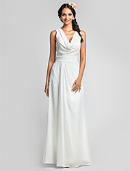 cheap -Sheath / Column Cowl Neck Floor Length Chiffon Bridesmaid Dress with Ruched / Side Draping