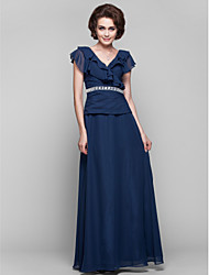 cheap -A-Line Mother of the Bride Dress V Neck Floor Length Chiffon Short Sleeve with Ruffles Side Draping Crystal Brooch 2021