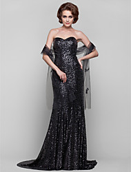 cheap -Sheath / Column Mother of the Bride Dress Wrap Included Strapless Sweetheart Neckline Sweep / Brush Train Sequined Sleeveless with Sequin 2020