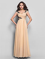 cheap -Sheath / Column V Neck Floor Length Chiffon Open Back / Pastel Colors Formal Evening / Military Ball Dress with Appliques / Criss Cross 2020