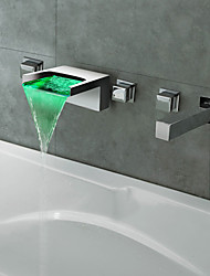 cheap -Contemporary Roman Tub Waterfall LED with  Ceramic Valve Five Holes for  Chrome , Bathtub Faucet