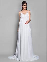 cheap -Sheath / Column Wedding Dresses Spaghetti Strap Sweep / Brush Train Chiffon Sleeveless with 2021