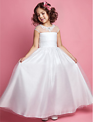 cheap -Princess / A-Line Floor Length Wedding / First Communion Tulle Sleeveless Jewel Neck with Ruched / Beading / Appliques
