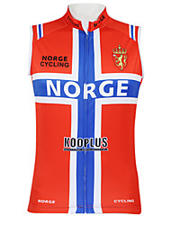 cheap -Malciklo Men's Women's Sleeveless Cycling Vest Polyester Red Norway Champion National Flag Bike Vest / Gilet Jersey Top Mountain Bike MTB Road Bike Cycling Breathable Quick Dry Waterproof Zipper