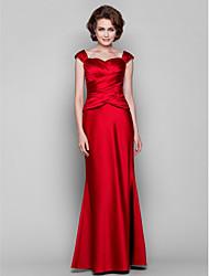 cheap -Mermaid / Trumpet Mother of the Bride Dress Sweetheart Neckline Floor Length Satin Short Sleeve with Criss Cross 2021