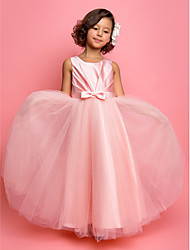 cheap -Princess / A-Line Ankle Length Satin / Tulle Sleeveless Jewel Neck with Sash / Ribbon / Bow(s) / Side Draping