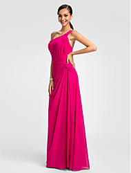 cheap -A-Line One Shoulder Floor Length Chiffon Bridesmaid Dress with Criss Cross