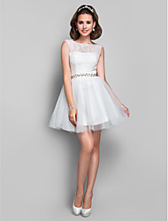 cheap -Ball Gown Cocktail Party Dress Illusion Neck Sleeveless Short / Mini Lace Tulle with Lace Crystals 2021