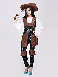 cheap -Cool Medieval Style Brown and White Polyester Pirate Costume (5 Pieces)