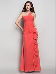 cheap -Sheath / Column Open Back Prom Formal Evening Dress One Shoulder Sleeveless Floor Length Chiffon with Cascading Ruffles Crystal Brooch 2021