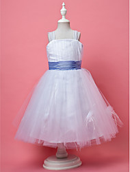 cheap -Princess / A-Line Knee Length Tulle Sleeveless Straps with Feathers / Fur / Sash / Ribbon / Ruched