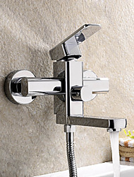 cheap -Morden Single Handle Wall Mount Solid Brass Shower Faucet (Chrome Finish)