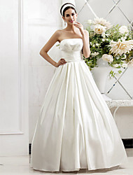 cheap -Princess A-Line Wedding Dresses Strapless Sweep / Brush Train Satin Sleeveless with Ruched Side-Draped 2020