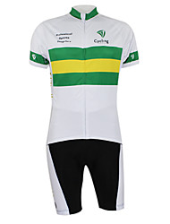 cheap -Malciklo Men's Women's Short Sleeve Cycling Jersey with Bib Shorts Elastane Polyester White / Green Australia Champion National Flag Bike Clothing Suit Mountain Bike MTB Road Bike Cycling Windproof