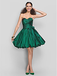 cheap -Ball Gown Cute Homecoming Cocktail Party Dress Sweetheart Neckline Sleeveless Short / Mini Taffeta with Sash / Ribbon Bow(s) Criss Cross 2020