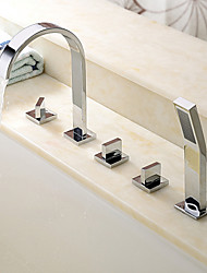 cheap -Bathtub Faucet - Contemporary Chrome Roman Tub Ceramic Valve Bath Shower Mixer Taps / Brass / Three Handles Five Holes