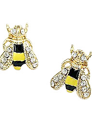 cheap -Women's Synthetic Diamond Ear Piercing Stud Earrings Animal Ladies Luxury Fashion Cute Rhinestone Gold Plated Imitation Diamond Earrings Jewelry Yellow For