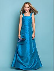cheap -Princess / A-Line Straps Floor Length Taffeta Junior Bridesmaid Dress with Side Draping / Spring / Summer / Fall / Apple / Hourglass