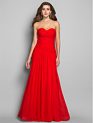 cheap -Mermaid / Trumpet Open Back Prom Formal Evening Military Ball Dress Sweetheart Neckline Sleeveless Floor Length Chiffon with Criss Cross Ruched Side Draping 2020