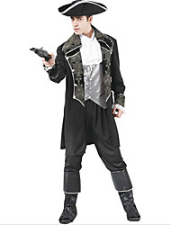 cheap -Pirate Cosplay Costume Party Costume Men's Halloween Carnival Festival / Holiday Polyester Men's Carnival Costumes Solid Colored / Hat
