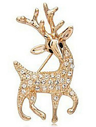 cheap -Women's Brooches Deer Animal Basic Natural Fashion Cubic Zirconia Rhinestone Brooch Jewelry Gold For Party Special Occasion Birthday Gift Daily