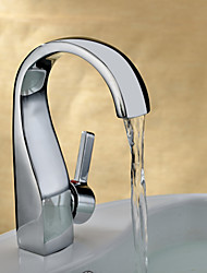 cheap -Bathroom Sink Faucet - Waterfall Chrome Centerset One Hole / Single Handle One HoleBath Taps