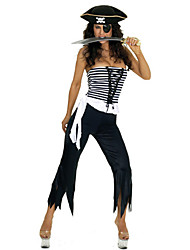cheap -Cruel Pirate Strapless Top Black and White Outfit Women's Halloween Costume