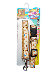 cheap -Embroidery Dots Pattern Collar with Leash for Pets Dogs (Assorted Sizes)
