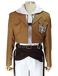 cheap -Inspired by Attack on Titan Annie Leonhardt Anime Cosplay Costumes Japanese Cosplay Suits Solid Colored Long Sleeve Coat Top Pants For Women's / Waist Accessory / Belt / Strap / Badge