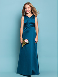 cheap -Sheath / Column V Neck Floor Length Satin Junior Bridesmaid Dress with Sash / Ribbon / Criss Cross / Ruched / Spring / Summer / Fall / Apple / Hourglass