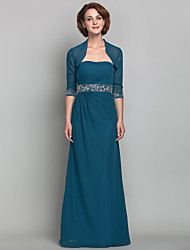 cheap -Sheath / Column Mother of the Bride Dress Wrap Included Strapless Floor Length Chiffon Half Sleeve with Beading Side Draping 2021