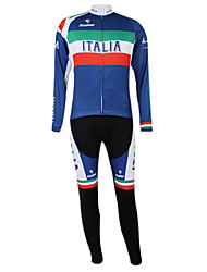 cheap -Malciklo Men's Women's Long Sleeve Cycling Jersey with Tights Winter Fleece Polyester Elastane Royal Blue+Green Italy Champion National Flag Bike Clothing Suit Mountain Bike MTB Road Bike Cycling