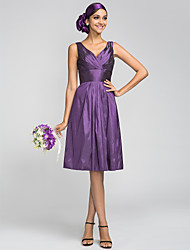 cheap -A-Line V Neck Knee Length Taffeta Bridesmaid Dress with Draping / Side Draping / Criss Cross