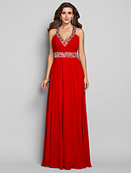cheap -Sheath / Column V Neck Floor Length Chiffon Open Back Prom / Formal Evening / Military Ball Dress with Side Draping 2020