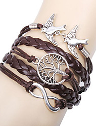 cheap -Women's Charm Bracelet Wrap Bracelet Leather Bracelet Layered Twisted woven Love Infinity life Tree Ladies Personalized Basic Multi Layer everyday Leather Bracelet Jewelry Brown For Christmas Gifts
