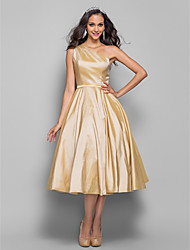 cheap -A-Line One Shoulder Tea Length Taffeta Elegant / Minimalist Cocktail Party / Wedding Party Dress with Sash / Ribbon 2020