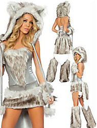 cheap -Wild Woof Grey Hairy Outfit Women's Halloween Costume